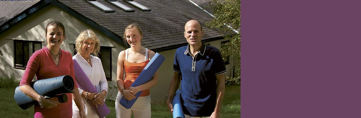 4 Dru Yogis at the Dru Yoga International Training Centre, Snowdonia, North Wales, UK