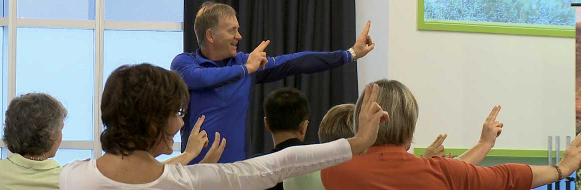 Dru Yoga teacher training course instructor, John Jones, teaching yoga