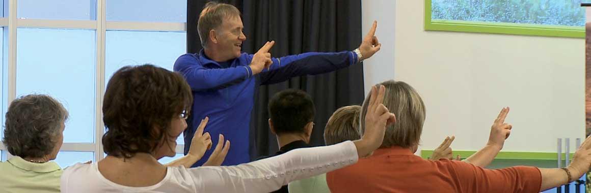 Dru Yoga teacher training course instructor, John Jones, teaching yoga