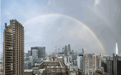 Rainbow over London after London Bridge attack, 2017