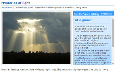 Mysteries of light - article by Astoria Barr