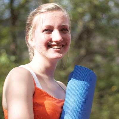 Dru Yoga student outside