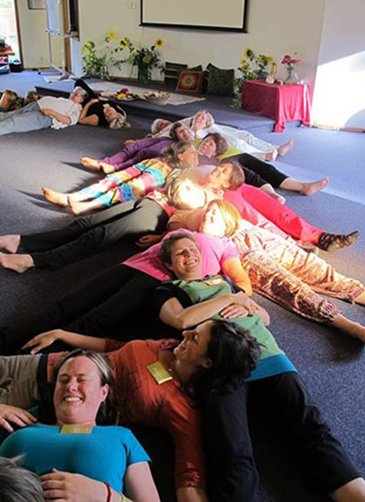 Enjoying a 'tummy relaxation train' on the Dru Kids & Teens Course