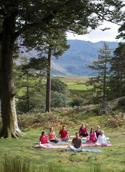 Dru meditation group in a green valley