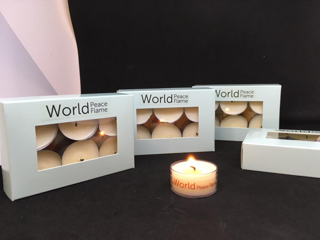 tealight candle, world peace flame, set of six