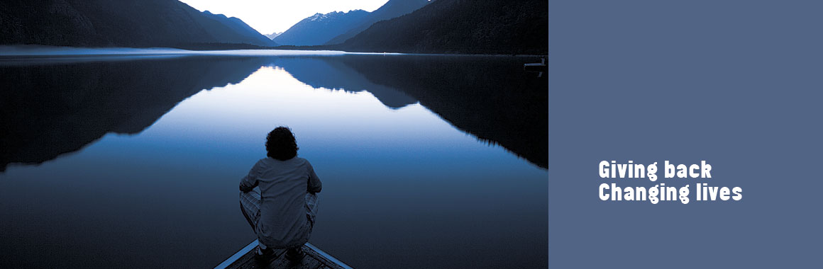 serene man on lake