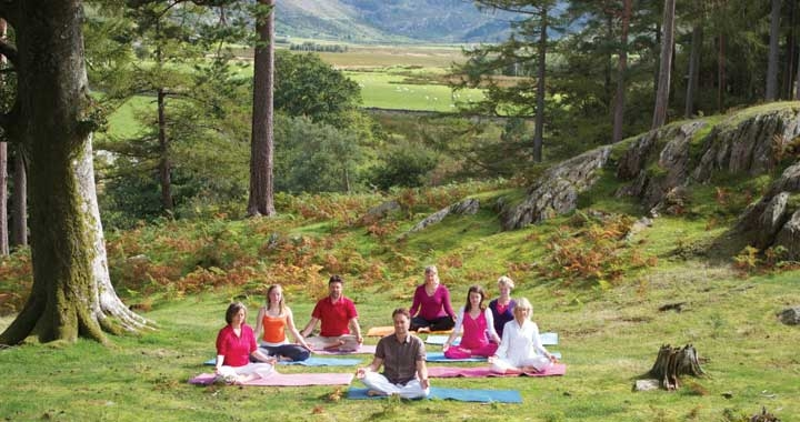 Dru Yoga class outside in nature