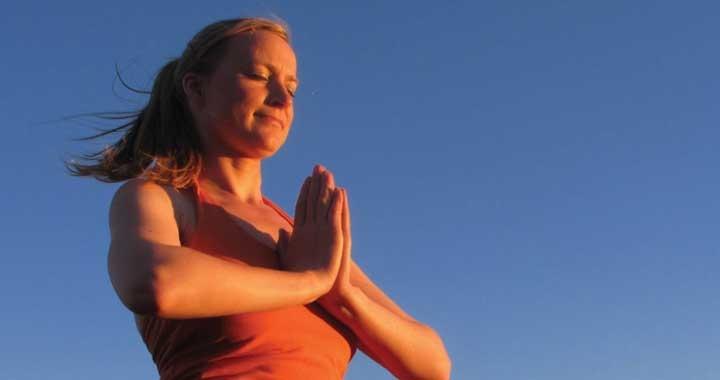 Rebecca Langford meditating - namaste